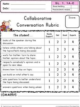 Common Core Speaking and Listening 1st Grade