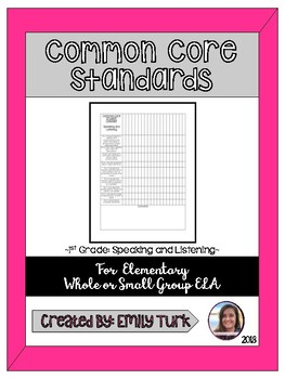 1st Grade Common Core: Speaking and Listening Checklist