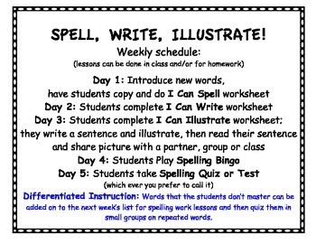 1st Grade Common Core Spelling, Write, Illustrate - Year of Lessons