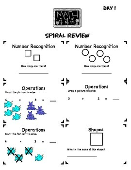 Math Common Core Spiral Review: 1st Grade-1st Nine Weeks