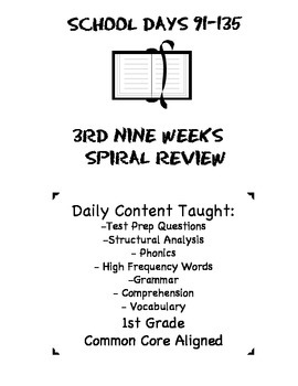 1st Grade Common Core Spiral Reading Review-3rd Nine Weeks