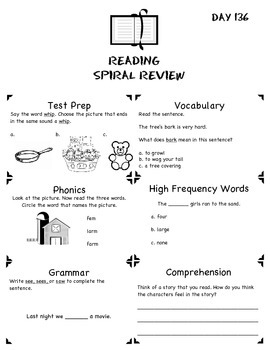 1st Grade Common Core Spiral Reading Review-4th Nine Weeks