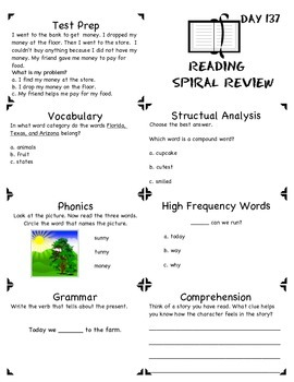 1st Grade Common Core Spiral Reading Review-Freebie