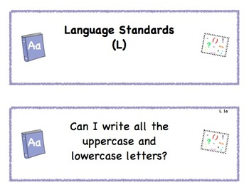 1st Grade Common Core Standard Signs for Students in Language Arts