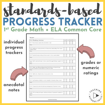 1st Grade Common Core Assessment & Anecdotal Notes- Standard Based Gradebook