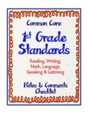 "1st Grade Common Core Standards - ELA and Math ""Notes & Co"