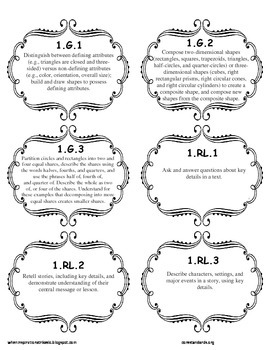 1st Grade Common Core Standards File Add-Ons