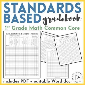 {1st Grade Common Core Standards} Math Standards-Based Checklist or Gradebook