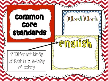 1st Grade Common Core Standards and Posters in Color, Chevron, and Animal Print