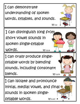 """1st Grade Common Core Standards for English/Language Arts  """"I Can"""" Statements!"""