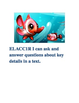 """Fish Theme 1st Grade Common Core ELA Standards with """"I Can Statements"""""""