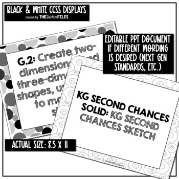 1st Grade Common Core State Standards (CCSS) Display Black & White *Editable*