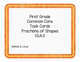 1st Grade Common Core Task Cards Fractions of Shapes