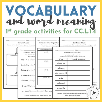 1st Grade Common Core Vocabulary Activities {context clues