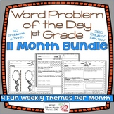 Word Problems 1st Grade Bundle, Spiral Review, Distance Learning