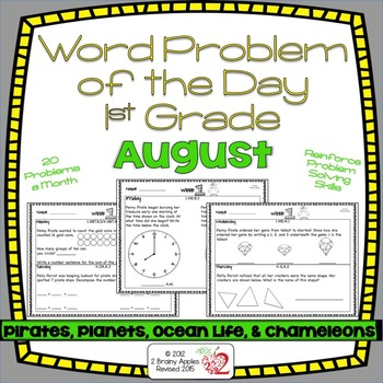 Word Problems 1st Grade, August