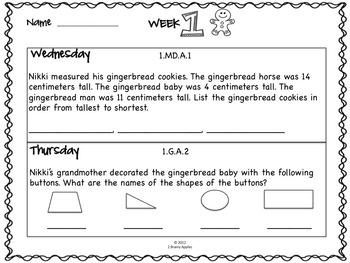 Word Problems Day 1st Grade, December