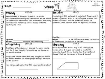 Word Problems 1st Grade, February