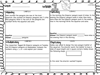 Word Problems 1st Grade, January