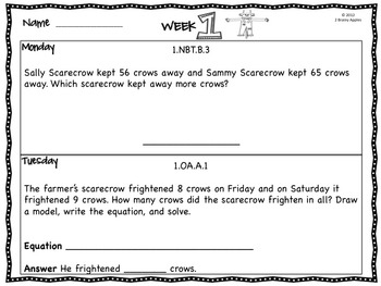 Word Problems 1st Grade, November