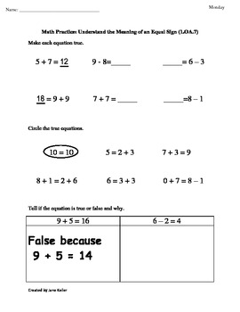 1st Grade Common Core Worksheets Understand the Equal Sign 1.OA.7