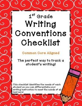 1st Grade Common Core Writing Conventions Checklist