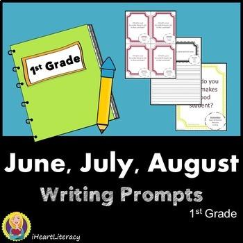 Writing Prompts 1st Grade Common Core Bundle – June, July, August