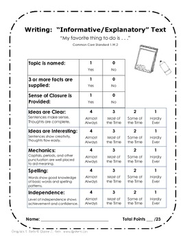 1st Grade Common Core Writing Rubrics