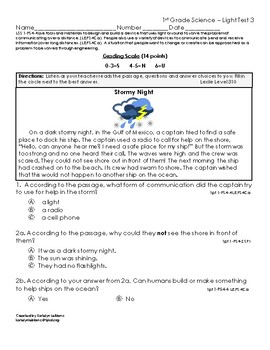 1st Grade Communicating with Light Test Louisiana State Standard 1-PS4-4