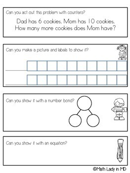 1st Grade Compare Word Problems SET 1 - A Graphic Organizer that Actually Works!