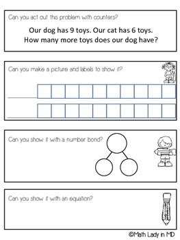 1st Grade Compare Word Problems SET 2 - A Graphic Organizer that Actually Works!