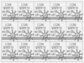 1st Grade Counting & Writing to 120 Victory Cards (Brag Tags) Color & BW Options