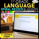 1st Grade DIGITAL Language Spiral Review & Quizzes   Gramm