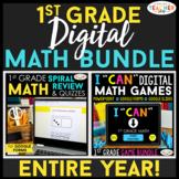 1st Grade DIGITAL Math BUNDLE | Spiral Review, Quizzes & Games