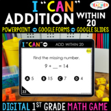 1st Grade DIGITAL Math Game | Addition within 20 | Distance Learning