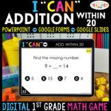 1st Grade DIGITAL Math Game | Addition within 20 | Distanc