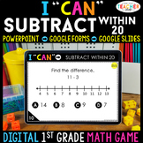 1st Grade DIGITAL Math Game | Subtraction within 20 | Dist
