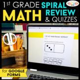 1st Grade DIGITAL Math Spiral Review & Quizzes   Homework