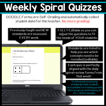 1st Grade DIGITAL Math Spiral Review & Weekly Quizzes | Google Forms | FREE