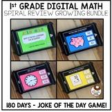 1st Grade Digital Math Spiral Review Growing Bundle - Dist