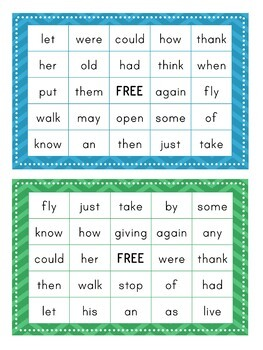1st Grade Dolch Sight Word BINGO Card Printable: Includes 30 cards!