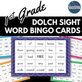 1st Grade Dolch Sight Word BINGO Card Printable: Includes