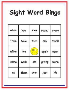 1st Grade Dolch Sight Word Bingo Class Set