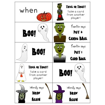 1st Grade Dolch Sight Word Boo! Game - Halloween