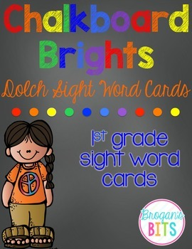 1st Grade Dolch Sight Word Cards {Chalkboard Brights Theme}