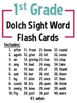 1st Grade Dolch Sight Word Flashcards