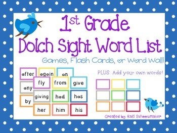 1st Grade Dolch Sight Word Games and Flash Cards