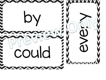 1st Grade Dolch Sight Words ~ Black & White Chevron  ~ Word Wall Cards