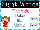 1st Grade Dolch Sight Words ~ Blue Chevron ~ Word Wall Cards