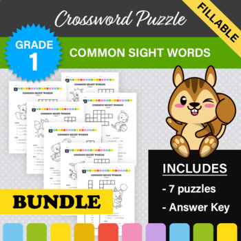 Dolch Sight Words Crossword Puzzle BUNDLE - All 7 puzzles! (1st Grade)